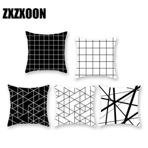 검은 색 흰색 기하학 무늬 쿠션 커버 기하학 인쇄 된 베갯잇 Polyster 베개 커버 소파 45x45cm 쿠션 커버