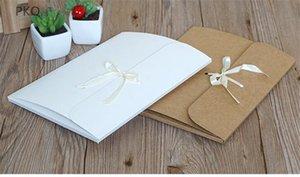 30pcs / lot كبير مغلف Kraft الصورة التعبئة حقيبة ورقة بيضاء ظرف هدية وشاح الحرير مع شريط بطاقة بريدية مربع