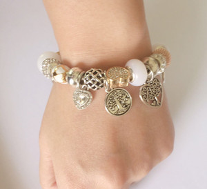 New Charm Argent 925 bracelets perles Femmes vie Pendentif Arbre Bangle amour charme comme cadeau Accessoires Bijoux Diy Mariage