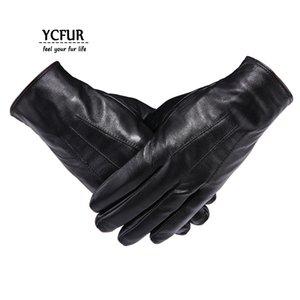 Ycfur Echtes Leder Handschuhe Fäustlinge Männer Weiche Warme Winterhandschuhe Männer Ganze Stücke Echtes Schaffell Herrenhandschuhe Männlichen MX190817