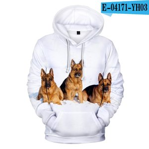 German Shepherd hoodies Hommes Sweat-shirt 3D de berger allemand Hip Hop Streetwear haute poche qualité à capuche Hauts 4XL
