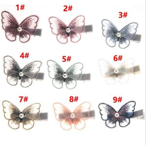 2020 New Mesh Butterfly Hair Clips For Women Girls Princess Elegant Pearls Hair Pins White Bangs Hair Bands Hairs Accessories
