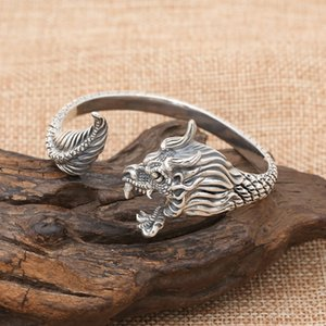 S 925 sterling silver hand-made designer vintage jewelry American classic antique silver dragon personalized punk thai bracelet cuff