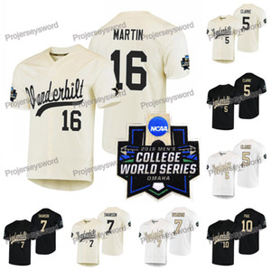 Vanderbilt Commodores Jersey 7 Dansby Swanson 5 Philip Clarke 10 Ethan Paul 16 Austin Martin 2019 NCAA WS W S Custom Baseball Jersey