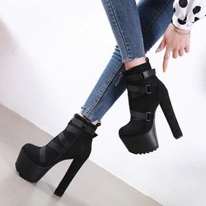 2019 Platform 7cm Kadınlar Seksi Dantel Patik Cowgirls Yüksek Topuklar Fetiş balo ayakkabı siyah Boots Parti ayakkabı balo Güz 16cm