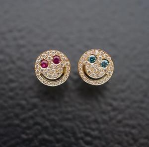 EYEFUNNY Style foret micro-incrusté 18K plaqué or véritable riche amusant sourire visage oreille ongles