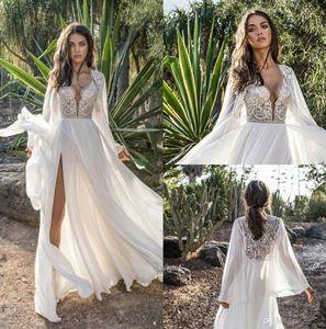 Asaf Dadush Boho vestido de casamento com manga comprida envoltório Side Dividir Praia Chiffon Bohemia vestidos de noiva frisada Lace Wedding Dress Robe De Mariee
