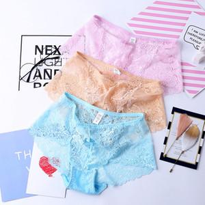 Sous-vêtements en dentelle transparente Femmes Mesdames Lot G-string Slip culotte Thongs motif fleur High Rise Lingerie Culottes