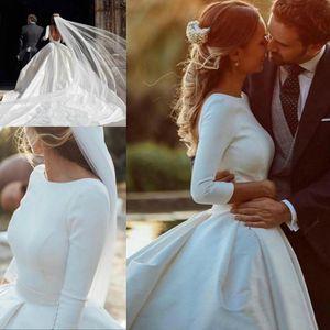Elegance dos nu satin taille des robes Pays Blanc 3/4 manches longues arabe Dubaï bal Robe de mariée robe de mariée robe de mer