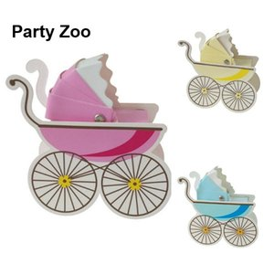 500 x rosa / azul / amarillo en forma de cochecito Baby Shower Kids Wedding Treats Box Baby Carriage Sweets Cajas de regalo al por mayor