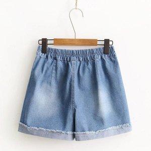 De estilo japonês Wear Mori menina Linha 17 Anos Verão New Style Revers desgastado Casual Denim Shorts Mulheres
