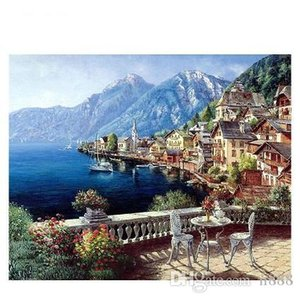 Hand-painted & HD Print Mountain Island Town Seascape Art oil painting On Canvas Wall Art Home Deco Multi Sizes l218 200315