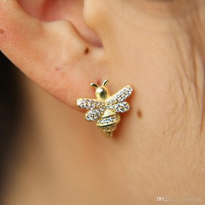 2018 Top quality 3d shape cute bee charm gold filled 925 sterling silver mini hoops adorable girl clip on silver earring