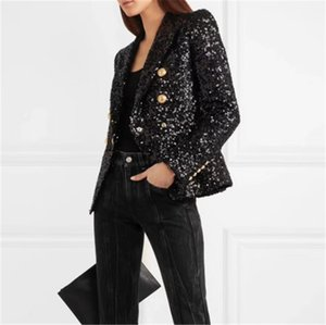 Womens Designer Sequins Cardigan Blazers Casual Famale Skinny Double Breasted Apparel Lapel Neck Solid Color Womens Blazer