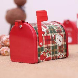 Rosso Natale latta scatola di latta casella di posta regalo contenitore creativo decorazioni scatola dei giocattoli di latta contenitore per bambini