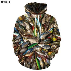 KYKU 3d Fish Hoodie Men Funny Sweatshirts Tropical Fishinger Tuna Print Sweatshirt Carp Hoodies Anime Long Hip Hop Mens Clothing