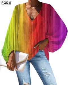 Frauen blusen shirts forrudegins frauen freizeit bunte regenbogen gestreift 3d bedruckte schönheit weibliche lose bequeme sommer kleidung ropa mu