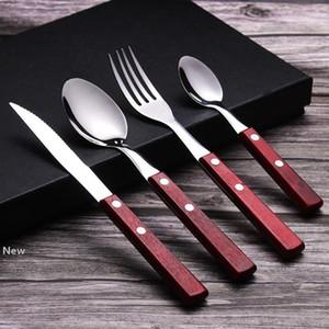 Stainless Steel Tableware Wood Handle Knife Fork Spoon Dessert Coffee Spoon Dinnerware Flatware for Party Wedding HHA1013
