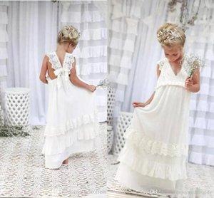 Schöne Boho Elfenbeinblumenmädchenkleider mit V-Ausschnitt A-Linie Chiffon Spitze Kind Kommunion-Kleider für Kinder Formal Wear-Geburtstags-Party-Kleid BA4995