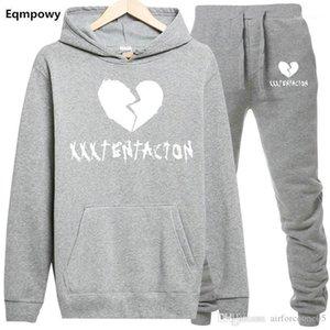 Outfits XXXTentacion Mens Casual Tute Designer Pantaloni sportivi con cappuccio 2pcs che coprono insieme Abiti americano Rapper casual