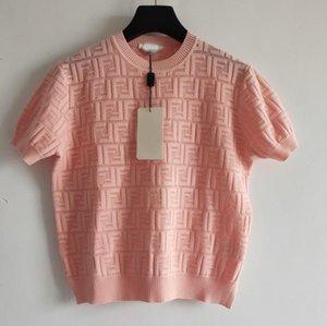 2020 Yaz Kadın Gömlek Yaz Moda üst Bayanlar Örme T-shirt Casual Marka Üst Tees FF Harf Kızlar Kısa Gömlek 2020666K