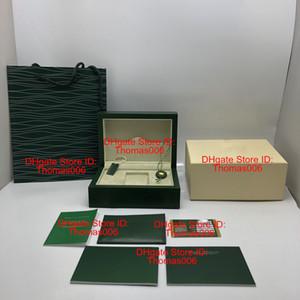 Nuovo stile verde all'ingrosso della vigilanza di legno la scatola originale carte regalo Orologi Scatole Carta sacchetto di cuoio per Box 116600 Contenitore di vigilanza