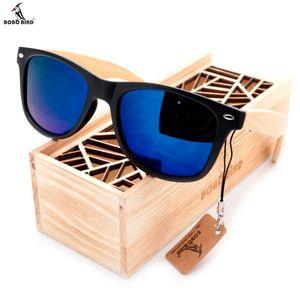 BOBO BIRD Black Square Women Men Sunglasses With Bamboo Legs Mirrored Polarized Summer Sun Glasses Travel Eyewear Wood Box SH190924