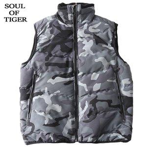 TIGER 겨울 한국어 패션 남성 민소매 조끼 코트 캐주얼 남성 위장 조끼 패딩 지퍼 코트의 영혼