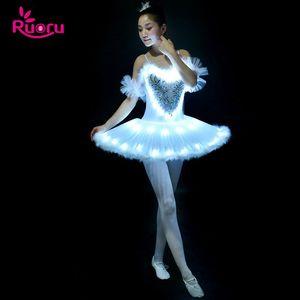 Ruoru Professional Ballet Tutu LED Swan Lake Adult Ballet Dance Clothes Tutu Skirt Women Ballerina Dress for Party girls