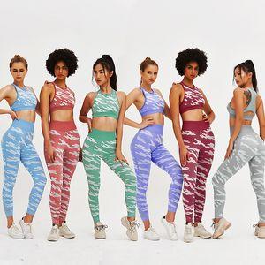 Sommer Fitness Wear Mädchen Ärmel T-Shirt Hohle Camouflage Mesh-Hosen Damen-Yoga Outfits Dame Sport Voll-festen Hosen-Anzug