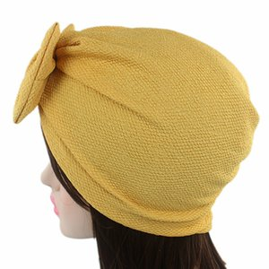 Europe and America Popular Hair Accessories Bowknot Women Turbans Hats Cotton India Hat Muslim Scarf Turban Cap Wholesale