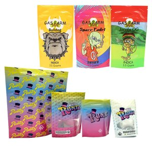 Runtz blanco bolsa de mylar de flores secas de hierbas 420 sf galletas envasado de bolsas de 3,5 g 7 g 28g a prueba de olor a plástico con cremallera Runtz Mylar Bolsas