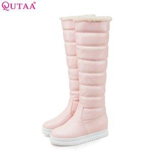 QUTAA 2020 modo delle donne stivali alti al ginocchio witer Snow Boots Infilare cunei a punta arrotondata tallone cuoio delle donne dell'unità di formato 34-43
