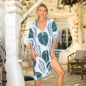 Chiffon lunga tunica Beach Dress Cover Up Leaf Stampa Swimwear Donne caftano Robe di occultamento del bikini costume da bagno della ragazza Pareo Beachwear