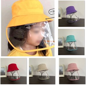 Children Protective Face Mask Hat Kids Anti-saliva Big Brim Hats Summer Visor Fisherman Cap HH9-2981