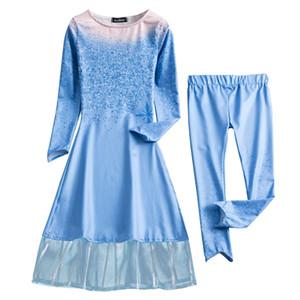 Elbise Kız Baskılı Snow Queen Dantel Elbiseler Pantolonlar Suits Cosplay Parti Kostüm Snowflake
