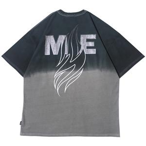 2020 Streetwear Футболка Огонь Пламя Мужчины Hip Hop Припуск Tshirt градиент цвета лето футболки с коротким рукавом Хлопок Tops Tee HipHop