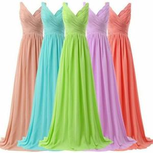 2020 una línea de vestir Bridemaids V-link mangas vestido de fiesta largo de la gasa del vestido formal