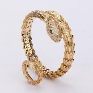 Hip Hop Oro Plata serpiente pulsera y anillo de Personlized punky del estilo del Medio Ambiente de cobre joyería para las mujeres