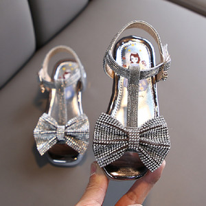 Girls Sandals Rhinestone Bow-knot Latin Dance Kids Shoes Children High Heel Princess Shoes Glitter Leather Party Dress Wedding