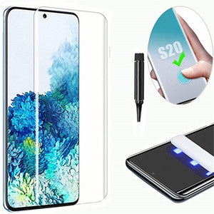 Sıvı Tutkal Durumda Dostu UV Işık Parmak İzi Unclock Temperli Cam Tam Yapışkan Ekran Koruyucu Samsung Note 20 S21 Ultra S20 Artı