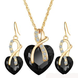 20 sets per lot Heart shaped jewelry sets for women wholesale high quality zircon jjewelry set necklace in various colors