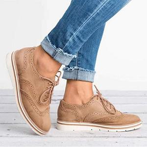 Shujin Kauçuk Brogue Ayakkabı Kadın Platformu Oxfords İngiliz Stili Creepers Cut-Outs Düz Casual Kadın Ayakkabı 5 Renk Espadrilles