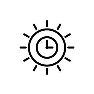 14.6 * 14.6 CM Hermosa Caricatura Artística Sun Clock Delicate Lovely Vinyl Decal Etiqueta de Coche Negro / Plata CA-1218