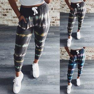Verão Designer Womens Casaul calças soltas Striped Impresso Mid cintura reta Estilo Sports Vestuário Feminino Calças