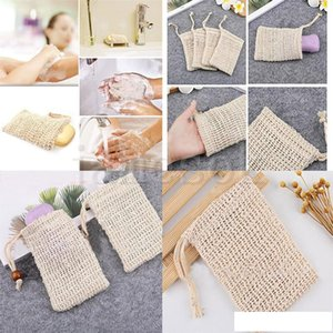 Neatening Mesh Soap Saver Pouches Holder For Shower Bath Foaming Natural Bath Bag Sisal Shower Soap Bag dc632