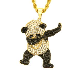 Diamantes de imitación de joyería Hip Hop oro de lujo de plata Baile divertido de la panda colgante animal de la roca hacia fuera helado diseñador de Hip Hop Regalo Collares Hombres Mujeres