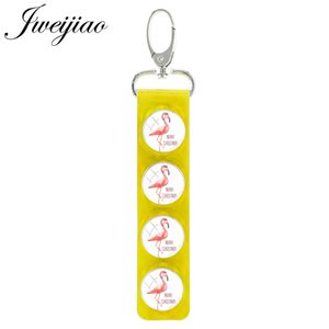 Flamingo Pink Bird Four Round Glass Patterns Pendant Keyring Snap Button PU Leather Key Chains Charm Jewelry Gift H512
