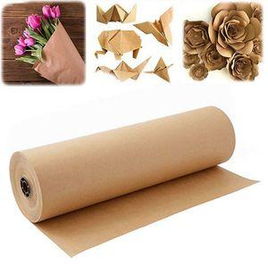 60 Metros Brown Kraft Embalagem de papel em rolo para festa de aniversário do casamento Embrulhos Parcel Embalagem Art Craft