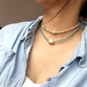 Преувеличенные украшения геометрического ожерелье кристалла женского ручной работы бисер бирюзовой жемчужина сочетание чокеровщик воротник
